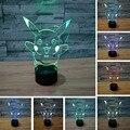 Envío libre 3D Pokemons Ir Juego para la decoración del hogar de los animales Regalo de navidad Pikachu LED Lámpara de Noche con 7 Colores Táctil iluminación