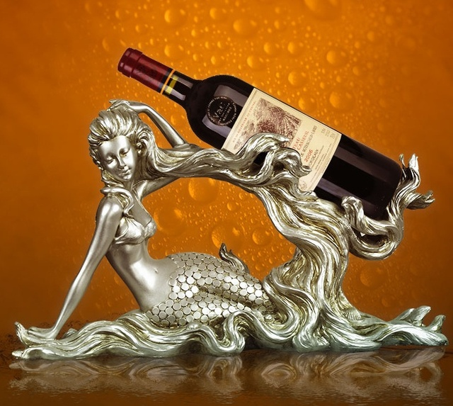 Decorative Wine Bottle Holders Magnificent Vintage Mermaid Sculpture Wine Bottle Holder Decorative Resin Sea Design Ideas