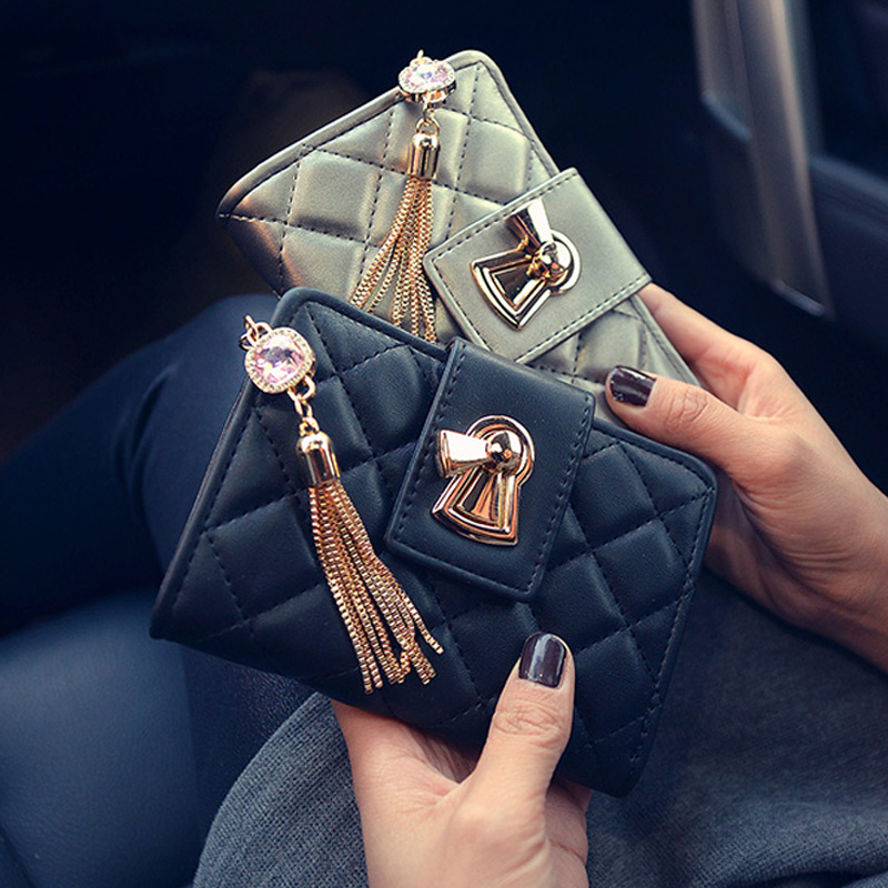 New Pu Women Long Wallet Casual Solid Zipper Hasp Purse Fashion Clutches Pashmina Billfold Tassel Card Holder 3Color Hot Sell casual weaving design card holder handbag hasp wallet for women