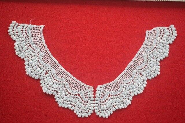 Mode Weiß Sewing Kleidung Blume Bestickt Ausschnitt Häkeln Kragen