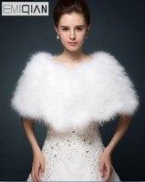 Luxurious White Ivory Faux Fur Boleros Wedding Bride Jacket Shrug Bolero Coat Bridal Party Shawls