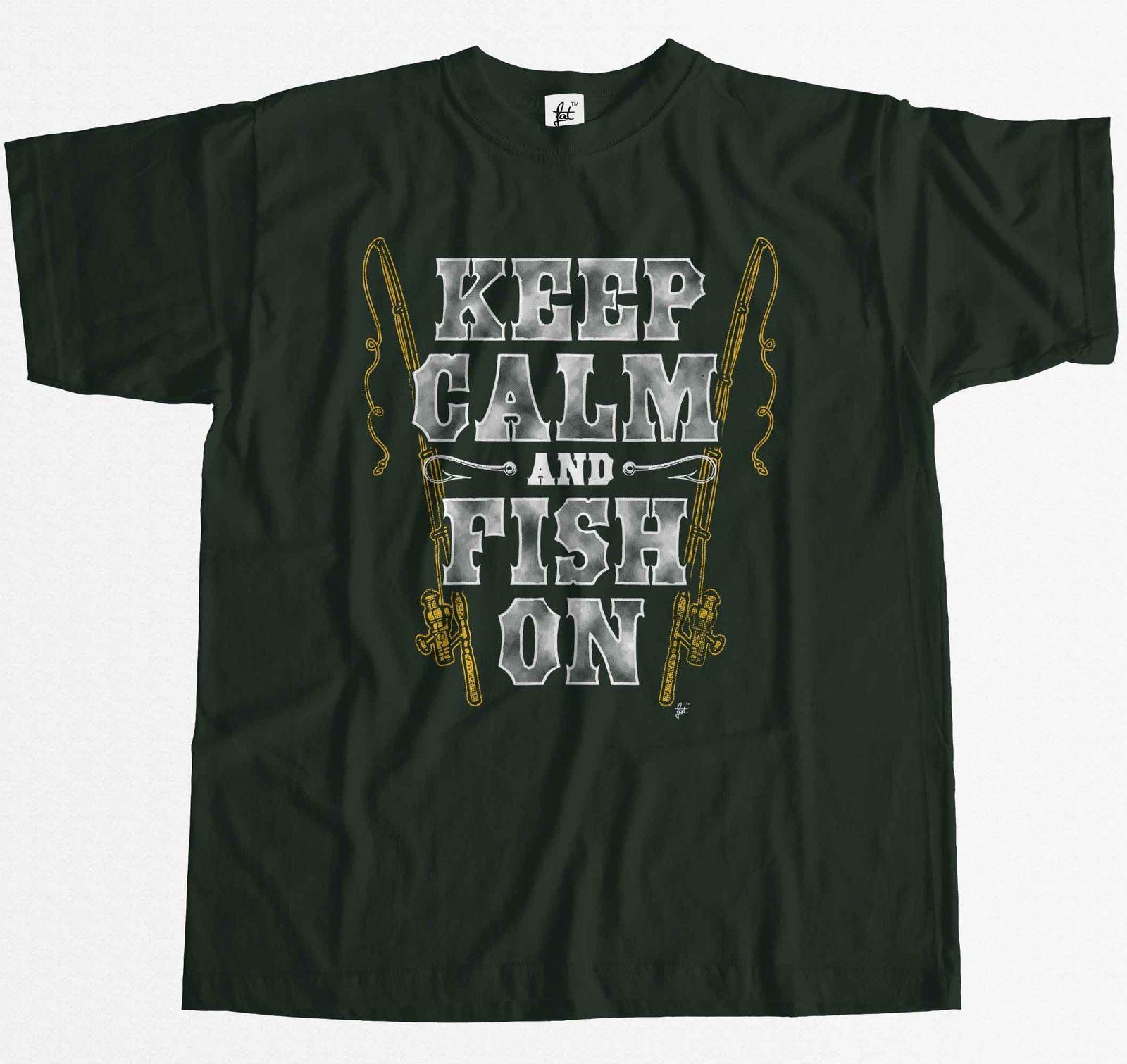 Keep Calm & Fish On Fishing Rod Mens T-Shirt Comfortable t shirt Casual Short Sleeve Print tees cheap wholesale