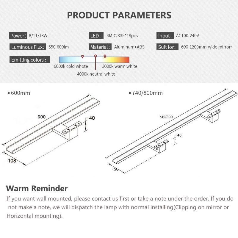 Fensalir 0.6-0.8m Lámpara de pared inodoro 8W / 11W / 13W LED Luces - Iluminación interior - foto 5