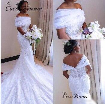 Cap Sleeve Bright Lace Mermaid Wedding Dresses New Robe Mariage Court Train Bride Dress Plus Size Wedding Dress W0474