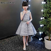 2019 new lace girl hi lo dress for wedding girl party wear plus little lady evening prom gown teenage kid clothes frocks