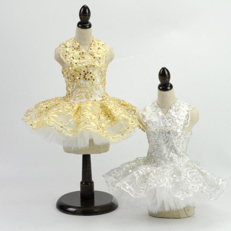 Fashion Lace Princess Pet Dog Wedding Dresses Pet Tutu Skirt Puppy Cat Dress Pet Apparel Sequins sewed by hand XS-XL teddy