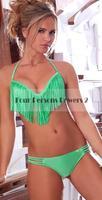 2016 New Swimsuit Summer Style Sexy Green Bikini Tassels Bandage Bikinis Set Swimwear Brazilian Biquini N144