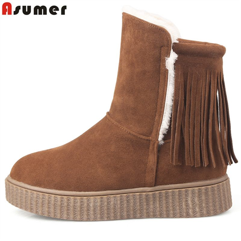 ФОТО ASUMER Womens boots winter 2017 new arrive flat shoes ankle boots tassel flock platform snow boots keep warm shoes contracted