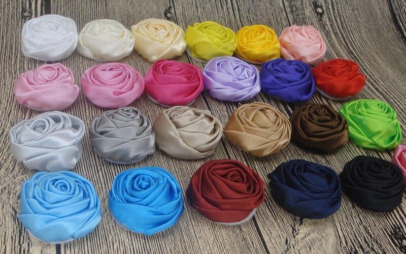 (60pcs/lot) 3.5cm mini Newborn Handmade Rolled Soft Satin Rose Flowers Artifcial Solid DIY Fabric Flowers For Baby Headbands