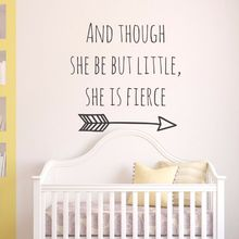 Removable Baby Girl Room Vinyl Wall Art Mural And though she be but little is fierce Quote Babys Wishes Stickers AY0115