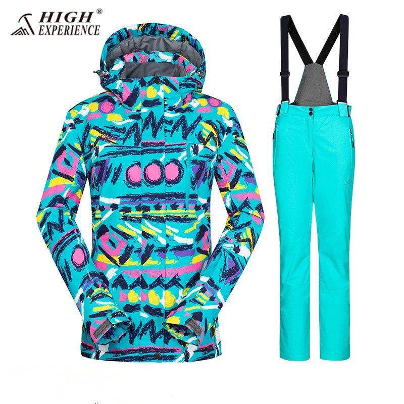 Femmes combinaison de Ski de Snowboard Costume Femmes de Neige Imperméables Vestes Pantalon Femelle Sport Costumes Hiver Femmes combinaison de Ski de Ski ensemble-30
