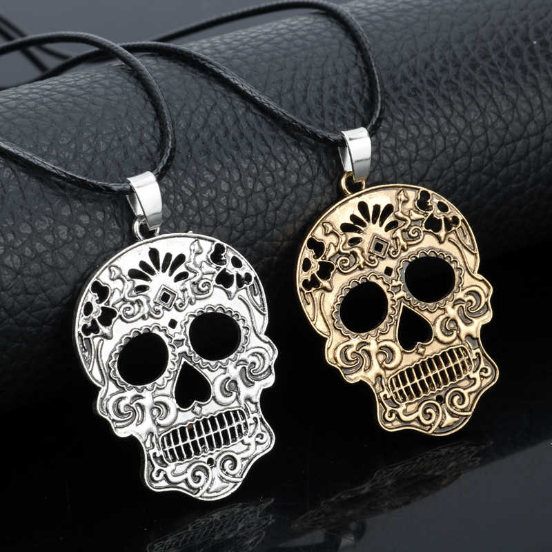 dongsheng Sugar Skull Charm Pendant Gothic Day Of Dead Skull Skeleton Rope Chain Necklace Women Men Jewelry -30