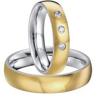 Цвет золотистый хит titanium модные кольца Свадебные украшения для обувь для мужчин и женщин