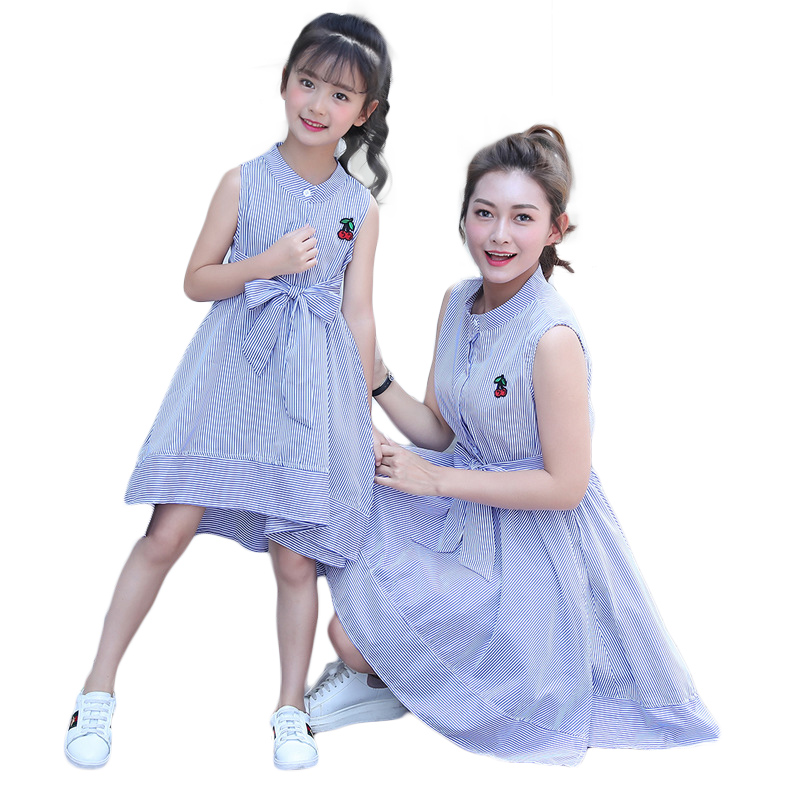 Daughter Mother Striped Dresses Family Look Matching Outfits Cherry Embroidered Cotton Mom And Me Sleeveless Cute Clothes