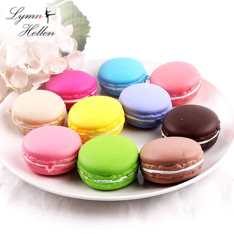 1PCS Squishies Antistress Jumbo Slow Rising Scented Macaroon Dessert Cake Squishy Squeeze Toy Stress Relief Phone Pendant