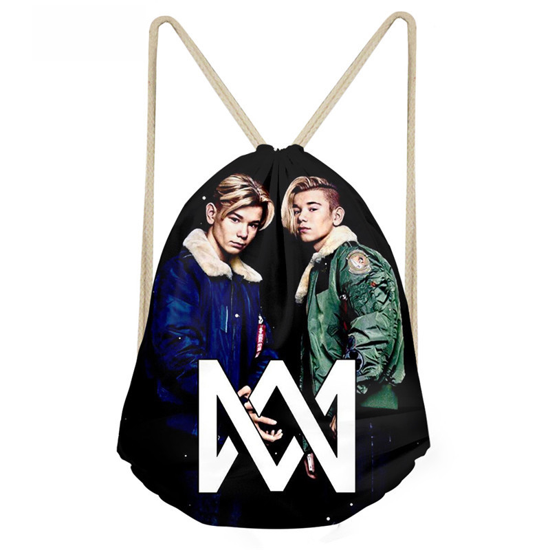 ThiKin Marcus And Martinus Printing Drawstring Bag Children Backpacks for Teenager Boys Small Storage Bags Daily