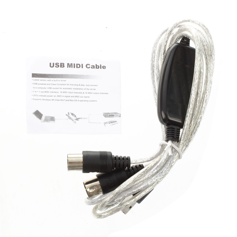 Semoic USB IN-OUT MIDI Cable Converter PC To Music Keyboard Adapter Cord