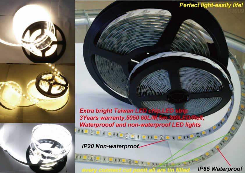 Тайвань светодиодный чип 5050LED полосы 60LED/M дополнительные яркие 3 года гарантии белый/теплый белый IP65/IP20 DC12V гибкий свет 5 м 300L/roll