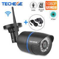 Techege WIFI caméra IP enregistrement Audio 1080P HD réseau 2.0MP caméra sans fil Onvif Vision nocturne caméra étanche TF carte stockage