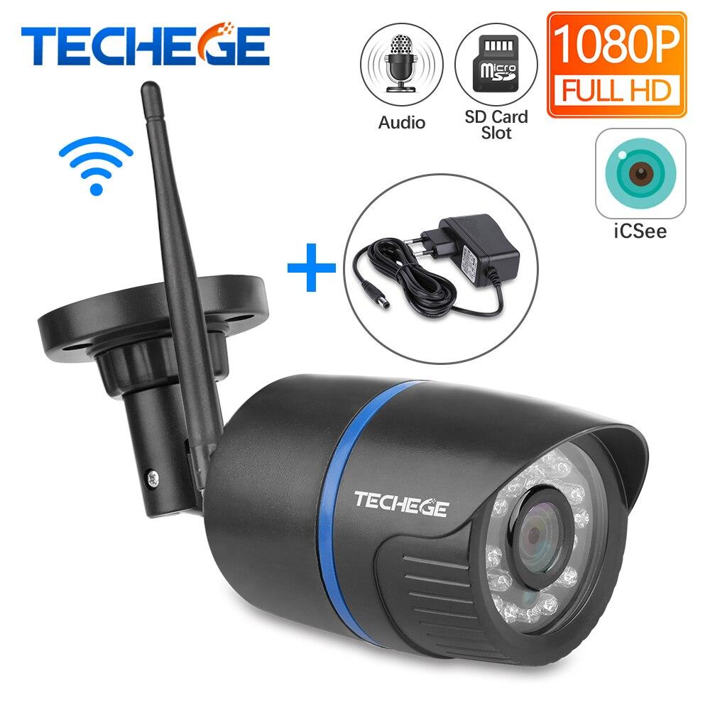 Techege WIFI IP Câmera Gravação de Áudio de Rede HD 1080P 2.0MP Onvif Câmera Sem Fio Visão Noturna Câmera À Prova D' Água Cartão TF armazenamento