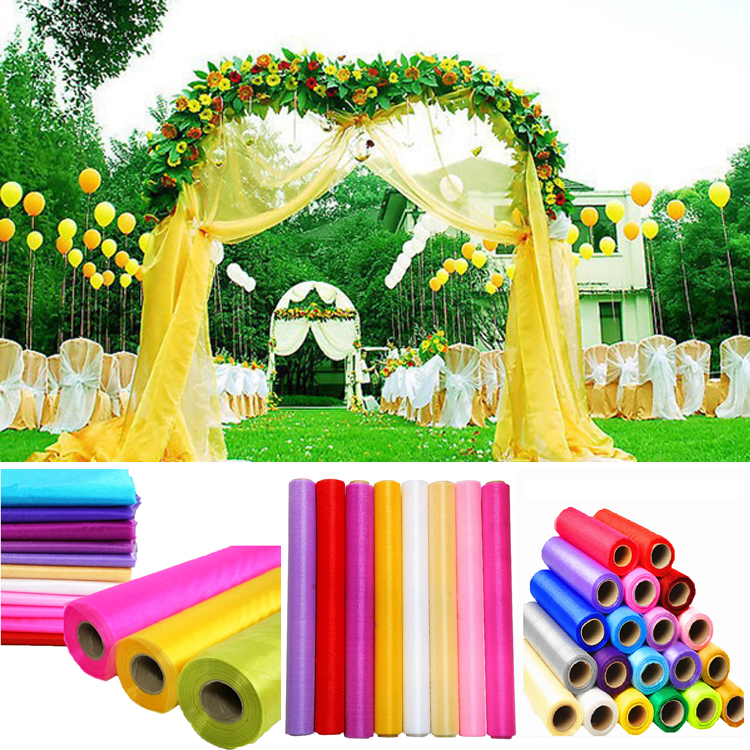 Aliexpress Buy Festival Supplies Colorful Organza Fabric Wedding Decor Sheer Crystal Home Party Decoration Fabrics 15m Wide 60 M Lot From