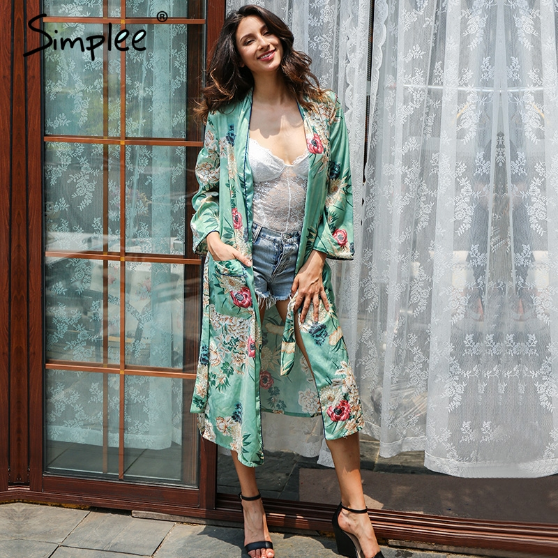 simplee floral print blouse shirt long kimono women sashes. Black Bedroom Furniture Sets. Home Design Ideas