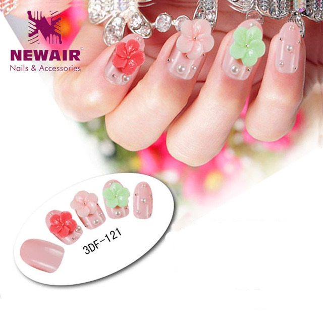 2016 New hot Nail art finished products 3d False Nail Tips flowers ...