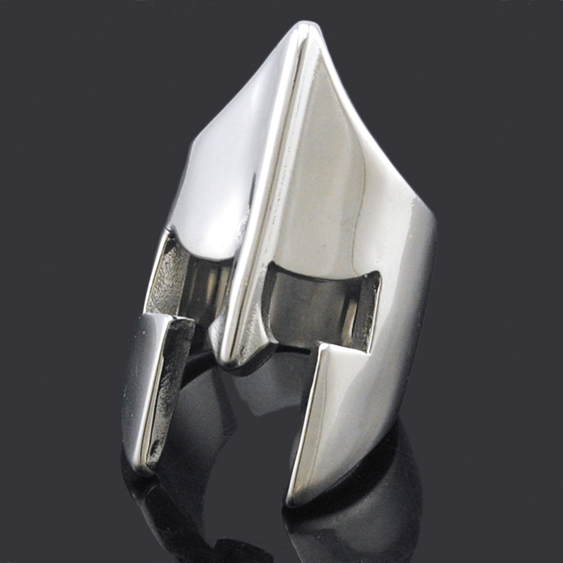 Cool Spartan Helmet Mask Silver / Black Ringss