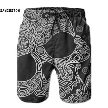 Mens perspiration quick dry ultra-light breathable Dark Skull shorts beach shorts