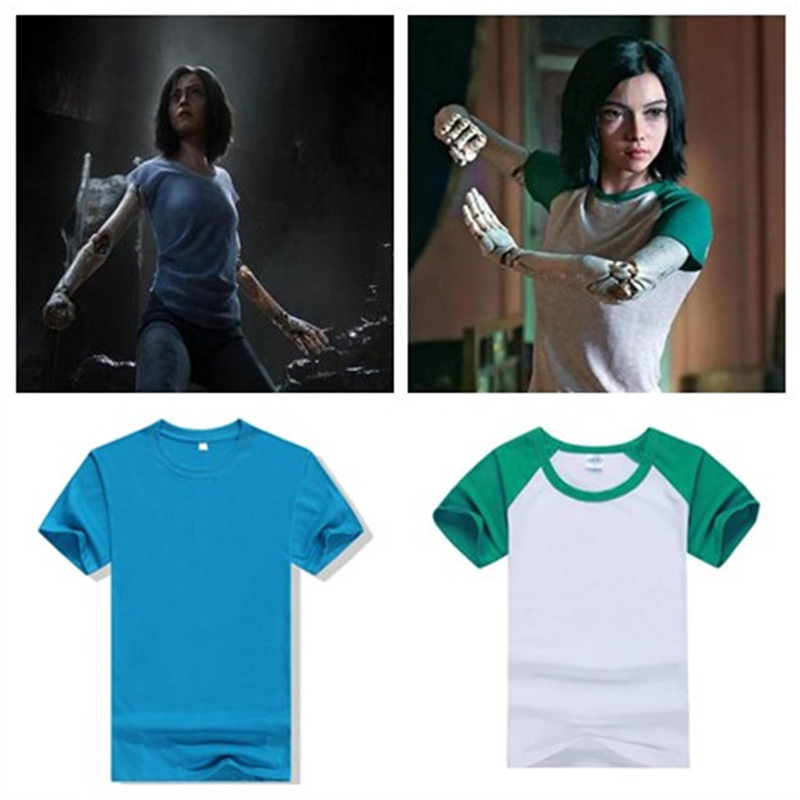 ZSQH Alita T-shirt costume cosplay Cotton polyester fiber Short sleeve Battle Angel T-shirt clothes kids top woman man child