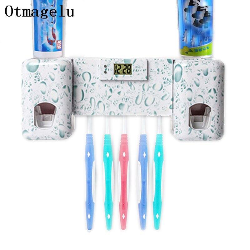 Badezimmer Zubehor Set Uhr Automatische Zahnpasta Spender Zahnburste