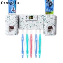Ванная комната аксессуары Set Clock Автоматический дозатор зубная паста Зубная щётка держатель с Комбинации набор зубная паста соковыжималка для малыша