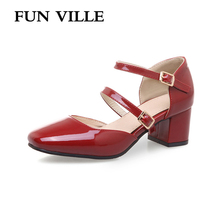 FUN VILLE Sweet Mary Janes shoes for women 2018 Patent leather Women pumps High heels Square toe Wedding Lady Shoes Plus size doratasia 2018 large size 30 47 candy colors square heels mary janes women shoes woman pumps date girls pumps shoes