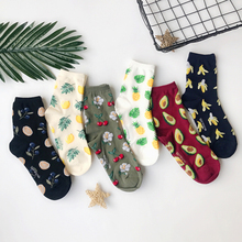 Women Size Fresh Fruits Socks Tropical Oranges Blueberry Lemons Pineapples Cherry Cherries Avocados Bananas Palm Leaf Healthy(China)