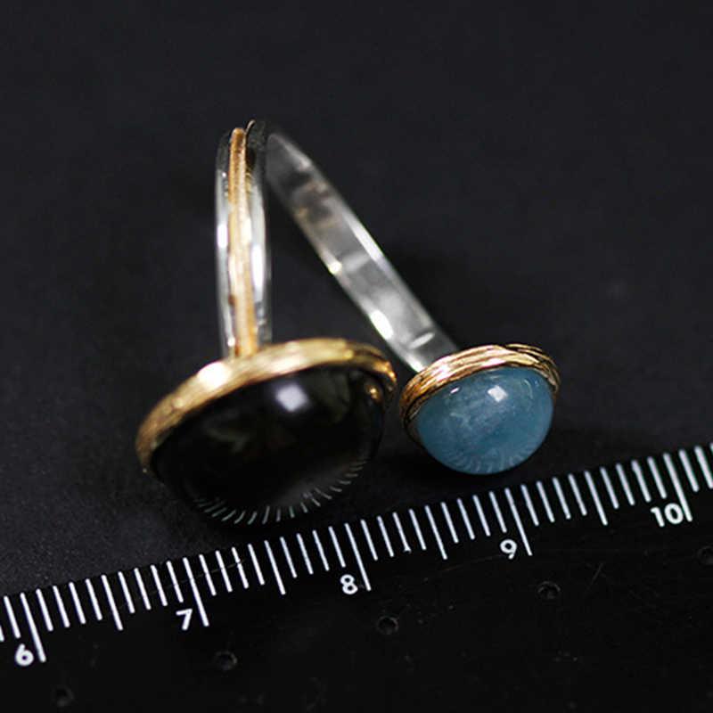 לוטוס כיף אמיתי 925 כסף סטרלינג טבעי ברדורייט אור ירח אבני חן טבעת תכשיטים מסתורי אגם טבעות לנשים