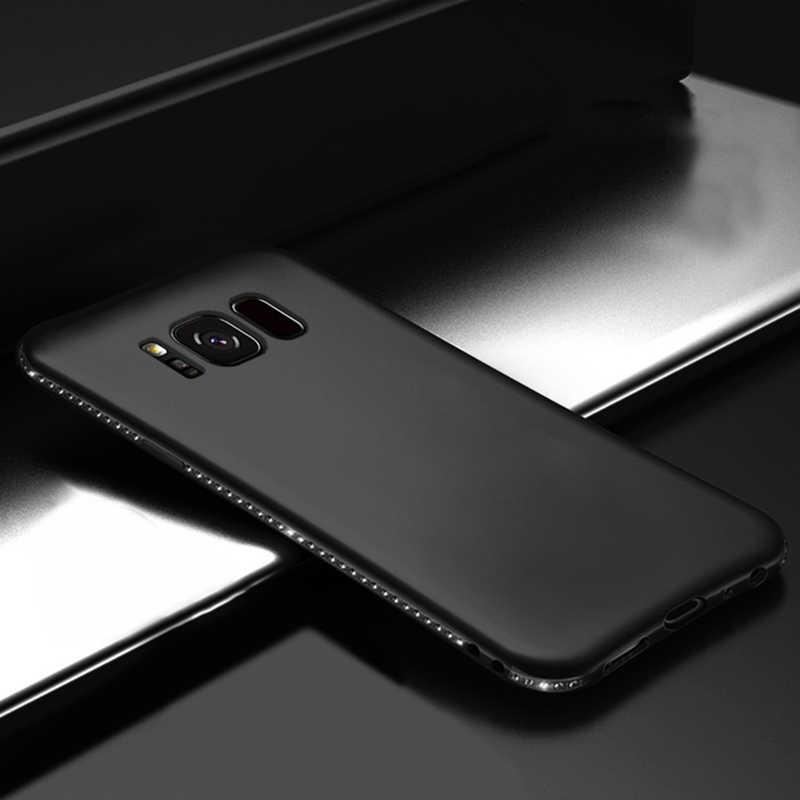 高級ケースS7 エッジS8 S9 プラス注 8 9 携帯電話バックカバーソフトシリコンtpuケーシングダイヤモンドハウジングバンパー