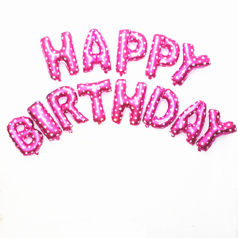 XXPWJ Free shipping new Golden Silver gray red Pink letters Happy Birthday Balloons  13pcs-lots