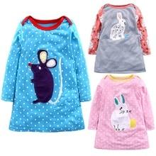 Girls Dress 2019 Princess Dress Baby Girls Clothes Rabbit Print Long Sleeve Kids Tunic Jersey Dresses for Girls Clothes недорого