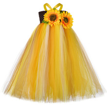Sun Flower Halloween Pumpkin Dress Kids Ankle Length Ribbon Sling Tutu Scarecrow Girls Floral Outfits Gown