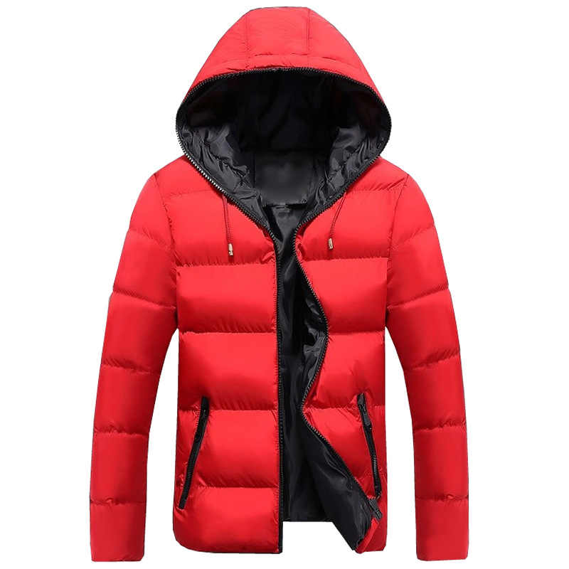 2019 新冬のジャケットの男性綿パッド入り暖かい厚みのショートジャケットコート服スタンド襟男性固体パーカーコート S-4XL