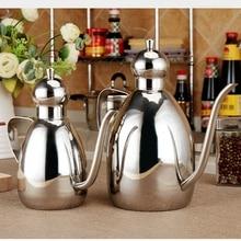ФОТО  Stainless Steel Leak-proof Oiler Jar Soy Sauce Bottle Olive Oil Vinegar Batcher Bottle Kitchen Supplies Cruet Vinegar Pot
