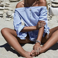 2017 Spring Sexy Striped Elegant Blue Off Shoulder Blouses Bow Tie Cuff Sleeve Casual Women Shirts LFYZ351
