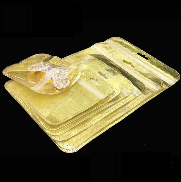 50pcs Gold clear zip lock bag Jewelry Packaging bags Transparent plastic Poly bag for watch Zipper storage pouch