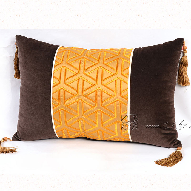 Rectangle Embroidered Back Cushions Living Room Sofa Throw Pillows Case  Cotton Silk Car Seat Europe New
