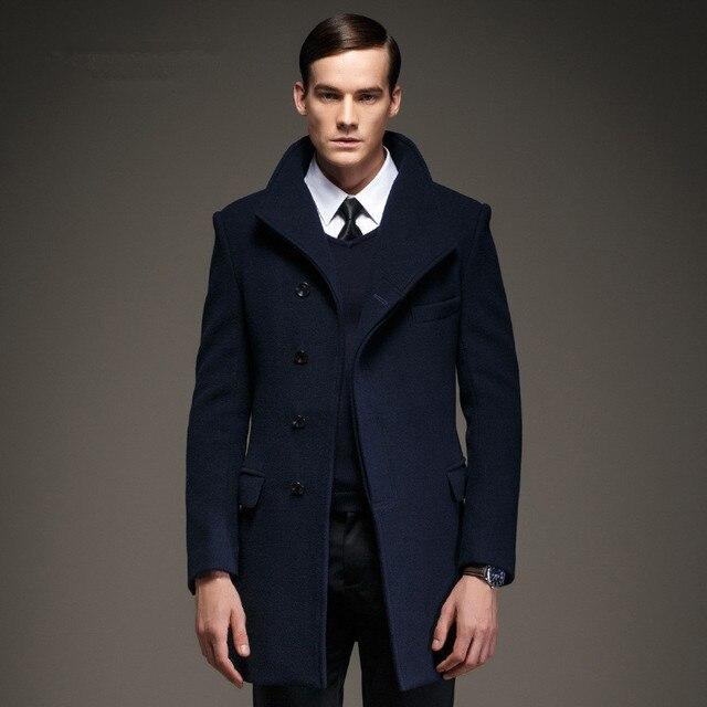 b9f8d41981 Fashion Mens Pea Coat Jacket Wool & Blends 2017 New Long Wool Coat Men  Winter Men Overcoat