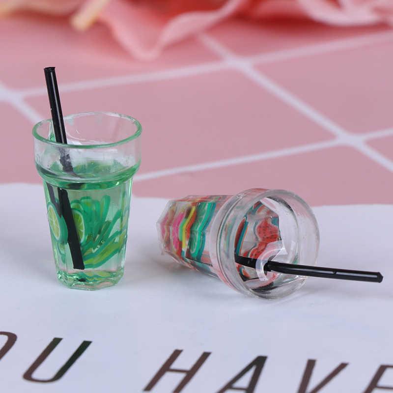 Gorąca żywica Mini 1:12 skala owocowa cytryna symulacja napój dla dollhouse zabawka miniaturka herbata mleczna napój lalka jedzenie akcesoria kuchenne