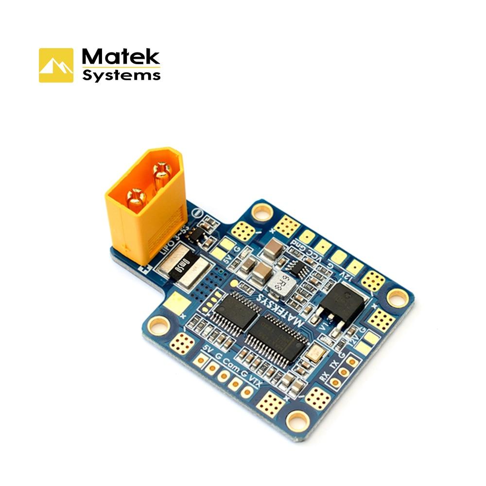 Matek Systems Power Distribution Board PDB HUBOSD ECO X TYPE, w/STOSD8 Dual BEC & XT60 Current Sensor for FPV Racing Quadcopter matek hubosd eco xt60 power distribution board hub osd pdb current sensor w dual bec 5v