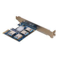 New Hot New PCI Expansion Card 1 to 4 PCI Slots USB 3.0 Converter Adatper PCIE Riser Cards For Bitcoin Mining Device NV99