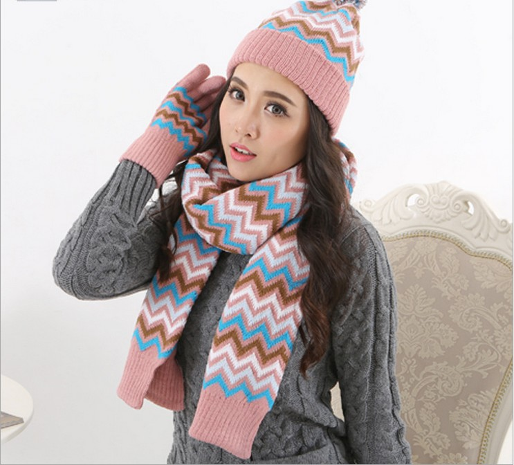 Autumn And Winter Men And Women Fashion Striped Printed Knited Keep Warm Scarf, Hat & Glove Sets 053