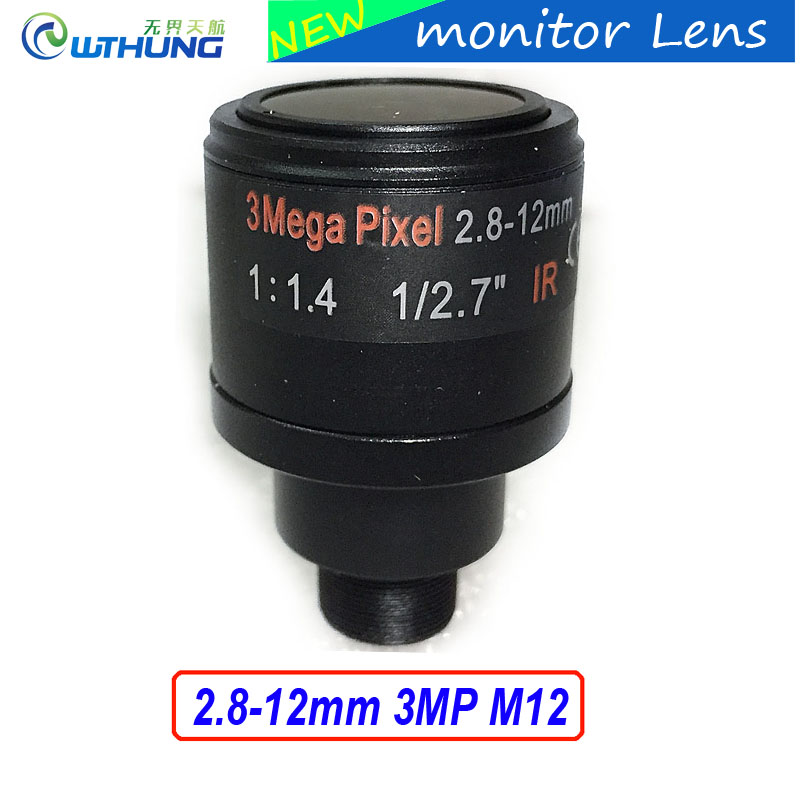 Metal case 1/2.7 inch Varifocal Lens 2.8mm-12mm 3Megapixel M12 Mount For 720P/1080P/3MP IP Camera or AHD/CVI/TVI CCTV Camera